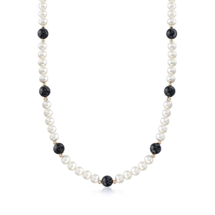 "6.5-7mm Cultured Pearl and 8mm Black Onyx Bead Necklace With 14kt Yellow Gold. 18"", , default"