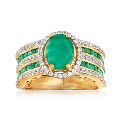 2.30 ct. t.w. Emerald and .70 ct. t.w. White Zircon Ring in 18kt Gold Over Sterling