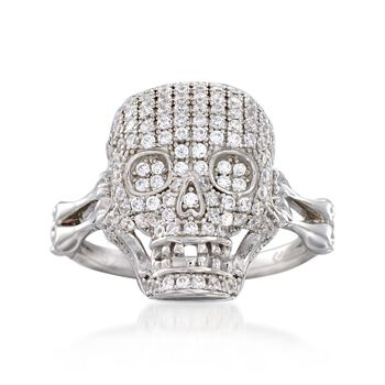 .80 ct. t.w. CZ Skull Ring in Sterling Silver, , default