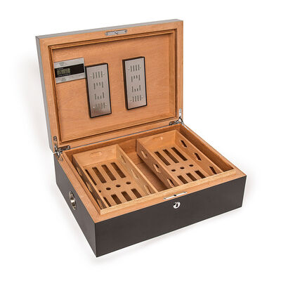 "Brouk & Co. ""Donovan"" Large Wooden Black Cigar Humidor Box, , default"