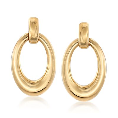 Italian Andiamo 14kt Yellow Gold Oval Earrings, , default
