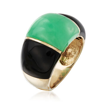 Green Jade and Onyx Dome Ring in 14kt Yellow Gold. Size 8, , default