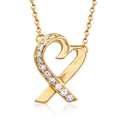 "C. 1980 Vintage Tiffany Jewelry ""Paloma"" .13 ct. t.w. Diamond Heart Necklace in 18kt Yellow Gold, , default"
