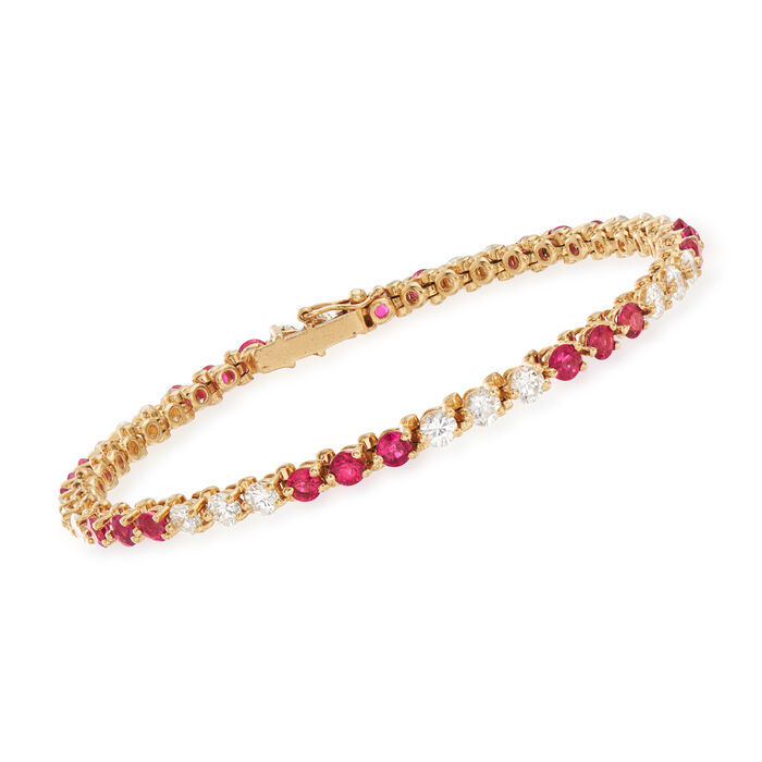 C. 1980 Vintage 3.75 ct. t.w. Ruby and 3.10 ct. t.w. Diamond Line Bracelet in 14kt Yellow Gold