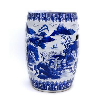 Blue Garden Handpainted Landscape Stool in Porcelain, , default