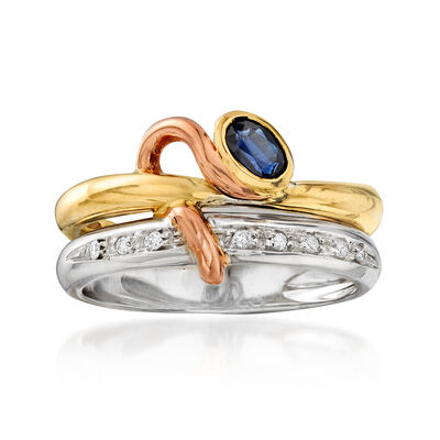 C. 1990 Vintage .25 Carat Sapphire Double Ring with Diamond Accents in 18kt Two-Tone Gold, , default