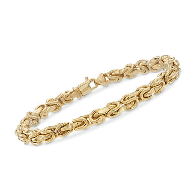 Men's 14kt Yellow Gold Interlocking Links Bracelet, , default