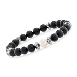 8-8.5mm Cultured Pearl and Black Onyx Bead Stretch Bracelet With Sterling Silver, , default