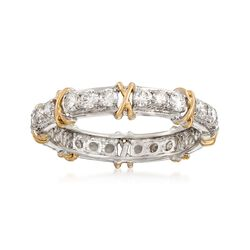1.00 ct. t.w. Diamond X Eternity Band in 14kt Two-Tone Gold, , default