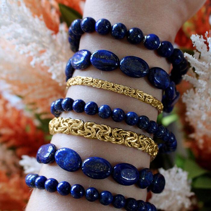 Lapis Jewelry Set: Five Bead Stretch Bracelets