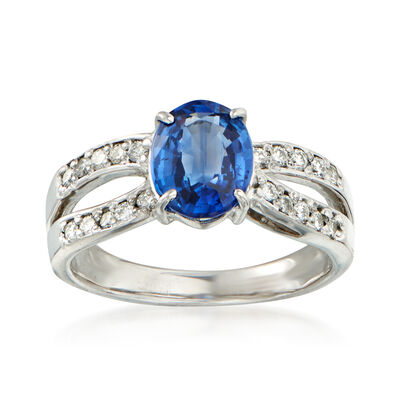 C. 1980 Vintage 2.23 Carat Sapphire and .30 ct. t.w. Diamond Ring in Platinum