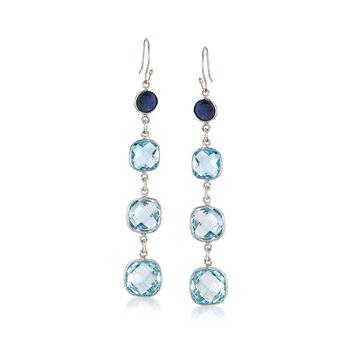 21.00 ct. t.w. Blue Topaz and 2.20 ct. t.w. Sapphire Drop Earrings in Sterling Silver, , default
