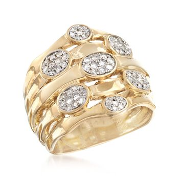 .50 ct. t.w. Diamond Multi-Row Cluster Ring in 18kt Gold Over Sterling, , default