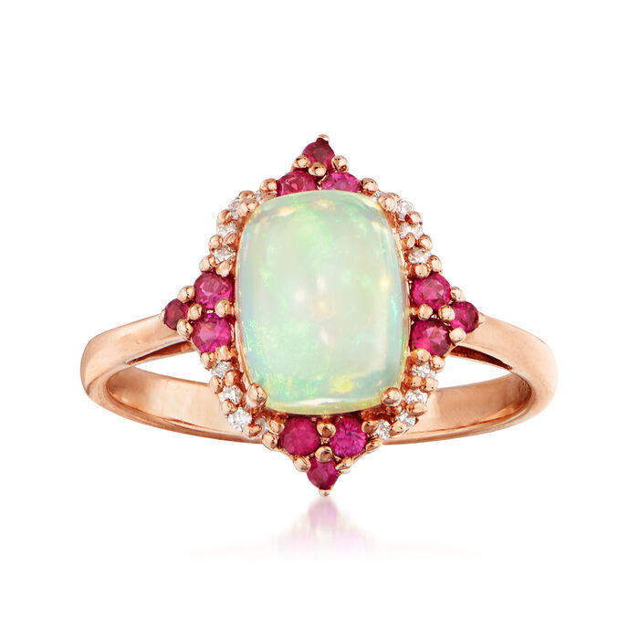 Opal and .20 ct. t.w. Ruby Ring in 14kt Rose Gold