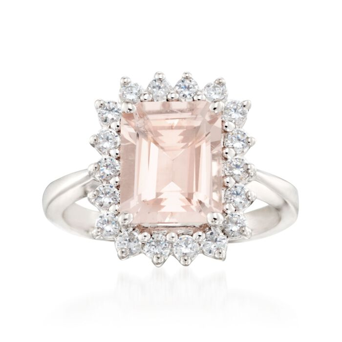 3.70 Carat Morganite and .63 ct. t.w. Diamond Ring in 14kt White Gold, , default