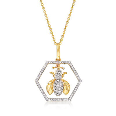 .35 ct. t.w. Bumblebee Pendant Necklace in 18kt Gold Over Sterling