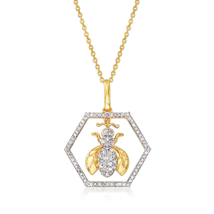 .35 ct. t.w. Bee Pendant Necklace in 18kt Gold Over Sterling