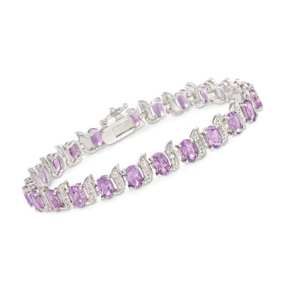9.50 ct. t.w. Amethyst and Sterling Silver Beaded S-Link Tennis Bracelet with Diamond Accents
