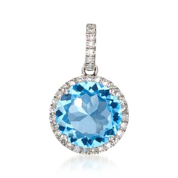 3.60 Carat Blue Topaz and .22 ct. t.w. Diamond Pendant in 14kt White Gold, , default
