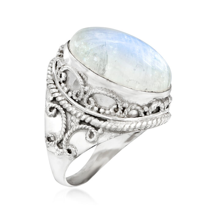 Moonstone Scrollwork Ring in Sterling Silver