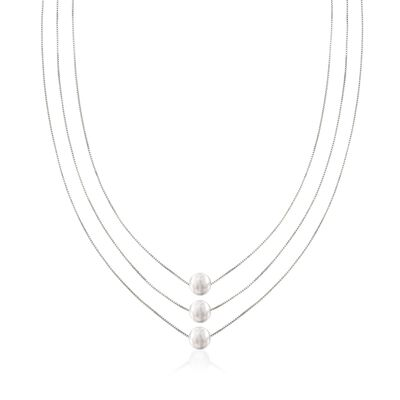 Sterling Silver Three-Strand Layered Bead Necklace, , default