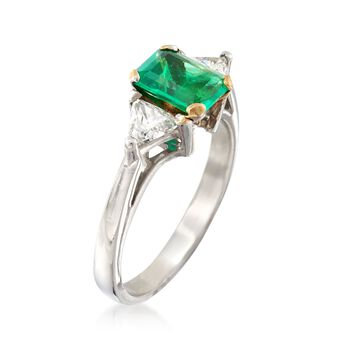C. 2000 Vintage .85 Carat Emerald and .50 ct. t.w. Diamond Ring with 18kt Gold in Platinum. Size 6, , default