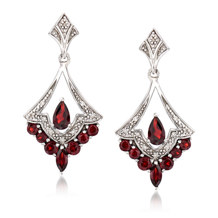 1.20 ct. t.w. Garnet Drop Earrings in Sterling Silver with Diamond Accents, , default