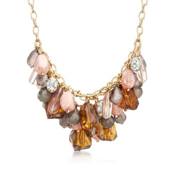 """Via Collection Goldtone Bead and Crystal Cluster Necklace. 18"""", , default"""