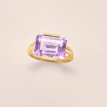 7.25 Carat Amethyst Ring in 14kt Yellow Gold, , default