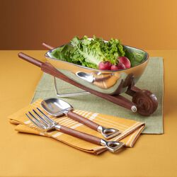 Wooden Wheelbarrow Salad Boat With Servers, , default
