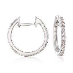 ".25 ct. t.w. Diamond Hoop Earrings in 14kt White Gold. 3/8"", , default"