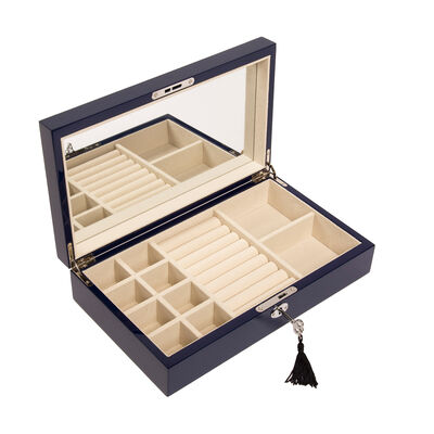 Brouk & Co. Navy Single Hinged Wooden Jewelry Box, , default