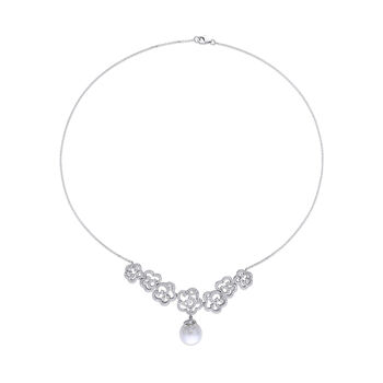 "11-12mm Cultured South Sea Pearl and 1.70 ct. t.w. Diamond Necklace in 14kt White Gold. 17"", , default"