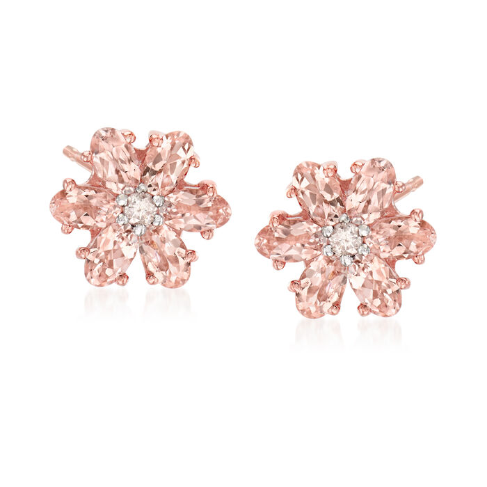 2.20 ct. t.w. Morganite and .12 ct. t.w. Diamond Flower Earrings in 14kt Rose Gold Over Sterling, , default