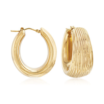 Italian Andiamo 14kt Yellow Gold Textured Hoop Earrings, , default