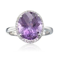 4.28 Carat Oval Amethyst and .14 ct. t.w. Diamond Ring in 14kt White Gold, , default