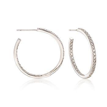 """1.20 ct. t.w. White Topaz Inside-Outside Hoop Earrings in Sterling Silver. 1"""", , default"""