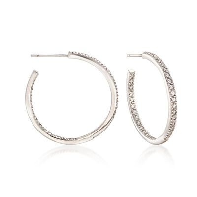1.20 ct. t.w. White Topaz Inside-Outside Hoop Earrings in Sterling Silver, , default