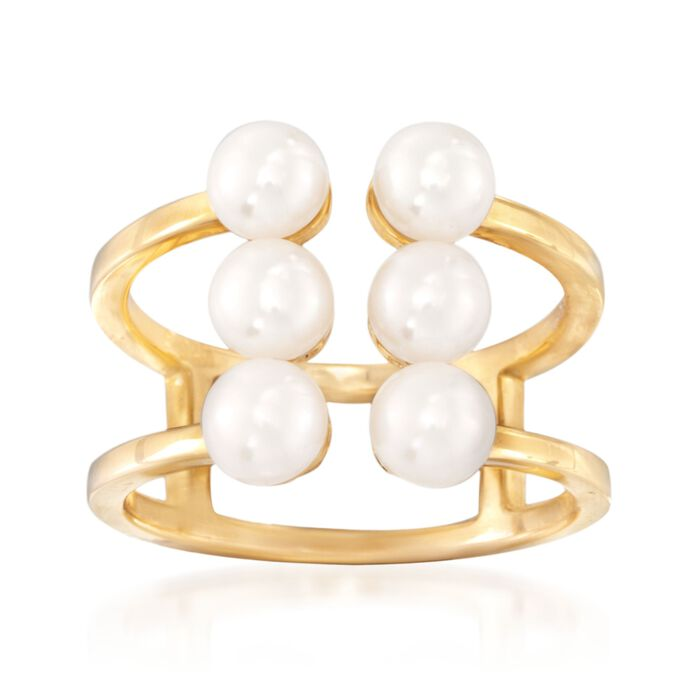 4-5.5mm Cultured Pearl Ring in 18kt Yellow Gold Over Sterling Silver, , default