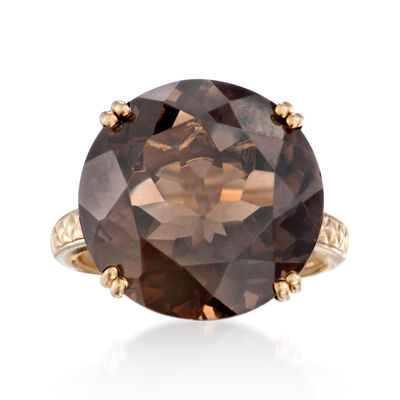 18.00 Carat Smoky Quartz Ring in 14kt Gold Over Sterling, , default