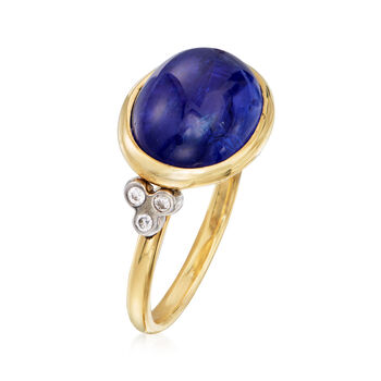 Mazza 8.40 Carat Tanzanite and .12 ct. t.w. Diamond Ring in 14kt Yellow Gold. Size 7, , default
