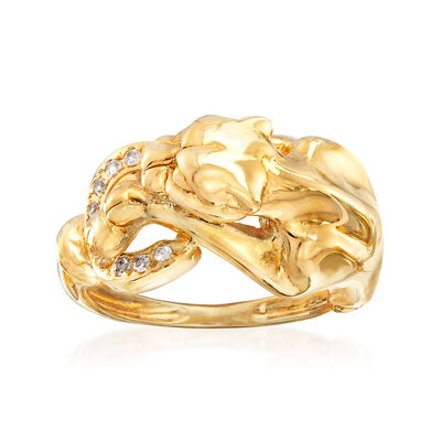 Italian .10 ct. t.w. CZ Panther Loop Ring in 14kt Yellow Gold