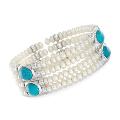 Simulated Turquoise and 4.5-5mm Cultured Pearl Cuff Bracelet in Sterling Silver, , default