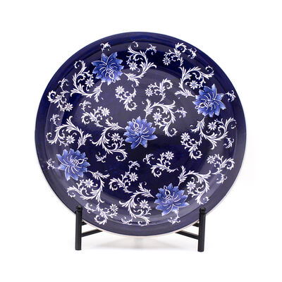 "Euro Ceramica ""Blue Garden"" Lotus Plate with Stand"