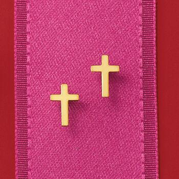 Child's 14kt Yellow Gold Cross Earrings, , default