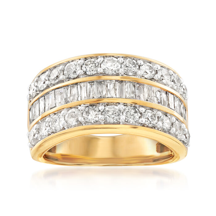 2.00 ct. t.w. Round and Baguette Diamond Ring in 18kt Gold Over Sterling, , default