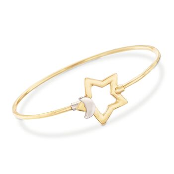 """Italian Two-Tone Sterling Silver Star and Moon Bangle Bracelet. 8"""", , default"""