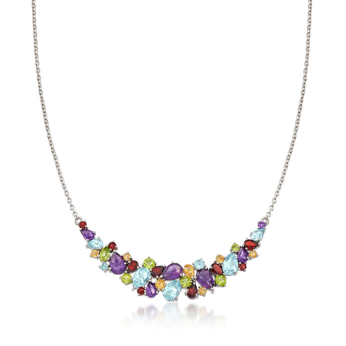 14.00 ct. t.w. Multi-Stone Necklace in Sterling Silver, , default