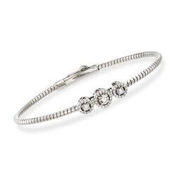 Simon G. .22 ct. t.w. Diamond Three-Station Bangle Bracelet in 18kt White Gold, , default