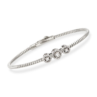 Simon G. .22 ct. t.w. Diamond Three-Station Bangle Bracelet in 18kt White Gold, , default
